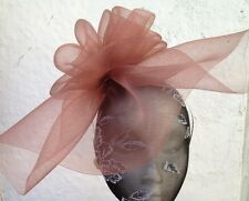 brown fascinator millinery burlesque wedding hat hair piece ascot race bridal