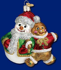 SNOWY & SPICE Snowman Ginger Bread Boy Glass Ornament Old World Christmas