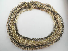 Shades of Goldtone Multiple Chain Choker Necklace