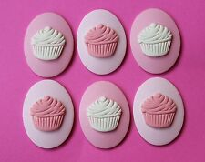 40x30mm Unset Loose Cupcake Cameo Set of 6 in Pink & Lavender