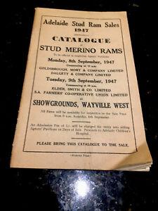 Adelaide Stud Ram Sales 1947 Catalogue-8/9th Sept-Rare Find. Economy Press Orig.