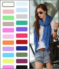 Womens Pure Candy Long Crinkle Soft Scarf Wrap Voile Wraps Stole Shawl tt