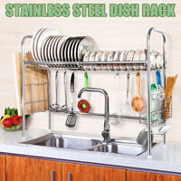 2 Tier Dish Drying Storage Drain Rack Stainless Steel Kitchen Holder Over Sink