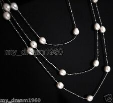 """New! Natural White Akoya pearl metal chain necklace 46""""long fashion jewelry"""