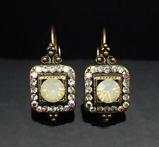 SWAROVSKI Antique Lantern White Opal Crystal Earring Wedding Gold Square