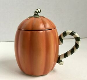 "Yankee Candle Pumpkin Cup Votive Black & White Striped Handle 2.75"" Tall"