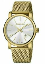 WENGER URBAN VINTAGE SILVER DIAL MESH GOLD-TONE BAND MEN'S WATCH 01.1041.120 NEW