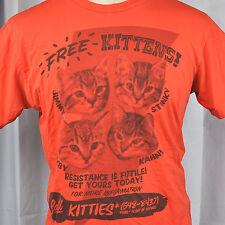 Free Kittens Resistance Is Futile Flyer Mens T-shirt Medium M Woot! Ltd Ed 2009