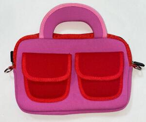 Pink & Red Neoprene Tablet Bag With Handles 3 External Pockets