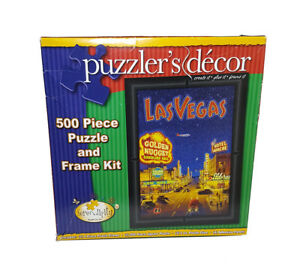 """The art of Kerne Erickson """"Las Vegas"""" 500 Piece Jigsaw Puzzle with Frame Kit NEW"""