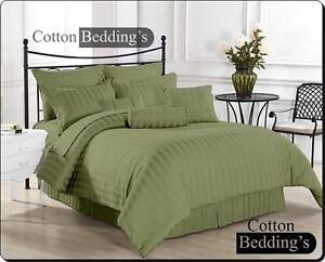 1000 TC Egyptian Cotton All US Size 3pc Duvet Set/4pc Sheet Set in Striped color