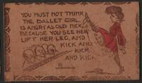 1906-07 VINTAGE LEATHER POSTCARD  FUNNY VERSE ABOUT BALLET GIRL KICKING HER FEET