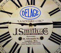 Delage Vintage Style Car Dealers Clock, J Smith & Co, Piccadilly London 1920's