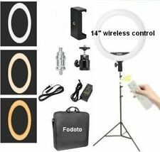 "Fodoto 14"" Led BiColor Dimmable Ring Light 7' Stand Kit with Remote Control"