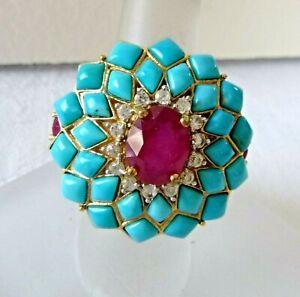 Carol Brodie RARITIES Turquoise Ruby Vermiel Ring 14K Over Sterling Silver Sz 6