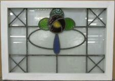 "MIDSIZE OLD ENGLISH LEADED STAINED GLASS WINDOW Mackintosh Rose 28.25"" x 20.25"""