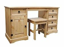 Corona 5 Drawer Dressing Table Computer Desk Work station With Stool Solid Pine