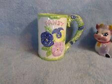 Embossed Pansy Flower Ceramic Coffee Mug Green Vine Handle Thailand JSNY