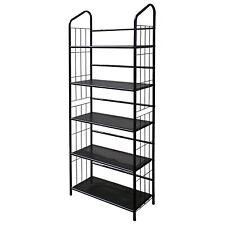 Black Five Tier Metal Bookshelf Rack New