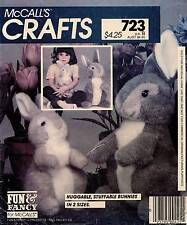 "1980's VTG McCall's Huggable, Stuffable Bunnies Pattern 723 Size 15.5""-12"" UNCUT"