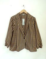 NWT NY COLLECTION Women's Blazer XL Brown Black Vertical Stripe Jacket  RV $58