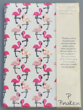 LUXURY SEQUINNED FLAMINGO LINEN COVERED A6 NOTEBOOK