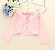 Ivory/Pink Bolero Shrug Short Cardigan for Bridesmaids Flower Girls and Parties