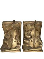 Vintage Universal Statuary Corp Gold Pair of Bookends Paganini Violin 1964