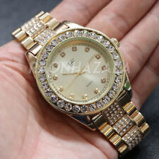 Men's Iced out Luxury Bezel Diamond Classic Metal Band Watch