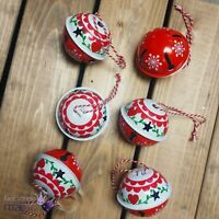 Gisela Graham Set Of 6 Nordic Scandi Bell Hanging Christmas Tree Decorations