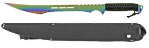 "27"" Machete With Nylon Sheath Case Stainless Steel Blade Titanium Anodized Color"