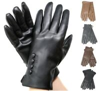 Women's Elegant Soft Winter Warm Genuine Leather Gloves w/ Fur lined Warm Gloves