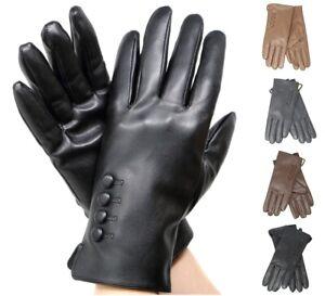 Women's Elegant Soft Winter Warm Genuine Leather Gloves w/ Fur lined Warm Gloves