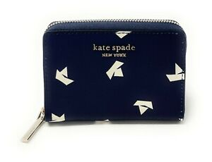 Kate Spade Spencer Paper Boats Zip Card Case Wallet Squid Ink PWR00362 $88