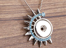 NEW MOON Crystal Alloy Pendant for Fit Noosa Necklace Snap Chunk Button #R95