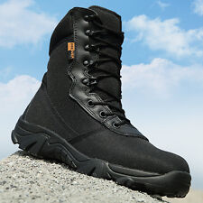 Mens  Camouflage Army Tactical Comfort Desert Rubber Combat Military Boots Black