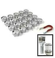 17mm CHROME Wheel Nut Covers with removal tool fits PEUGEOT (ET)