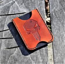 Handmade MINUS Minimalist Leather Wallet Saddle Tan Punisher