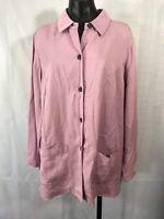 Linden Hill Womens Size XL Pink Top Shirt Blazer Long Slv Button Down Pockets