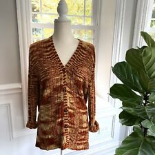 EMANUEL UNGARO Longline Cardigan Sweater Striated Brown Gold Women's Size L