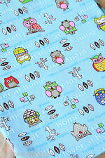 OWLS on Blue Cotton Fabric zakka cute cartoon sewing quilting floral patchwork