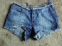 "Women's Juniors LEVI'S DESTROYED DISTRESSED DENIM  SHORTS 31""inches low rise"