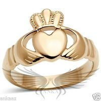 Women's Rose Gold IP Heart Shaped Irish Claddagh Ring No Stone TK160R