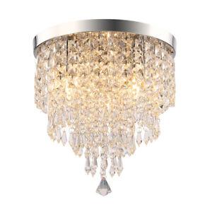 Crystal Ceiling Lamp Chandelier Flush Mount 3 Light Crystal Silver Ф30cm Hallway
