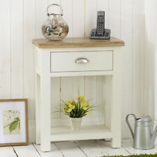 Cotswold Cream Painted 1 Drawer Hall Console Telephone Table with Oak Top - WT28