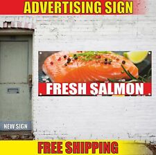 FRESH SALMON Advertising Banner Vinyl Mesh Decal Sign farm local seafood frozen