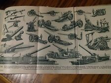 WW1 Great War Guns Foldout Pages From 1920's Encyclopedia to Frame ?
