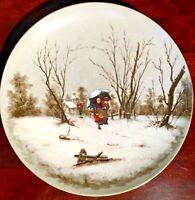 "Vintage Hand Painted Winter Scene w/ Children13-1/2"" DECORATIVE PLATE"