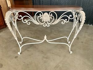 Wrought Iron Wood Console Table Sofa Entry Living Room Furniture Top Accent EUC