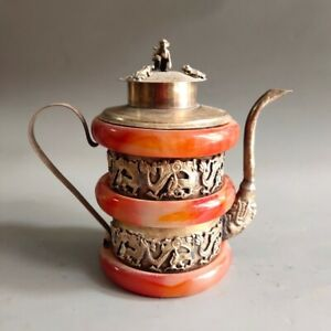 Old Chinese tibet silver inlay red jade handcarved dragon pots wine pot